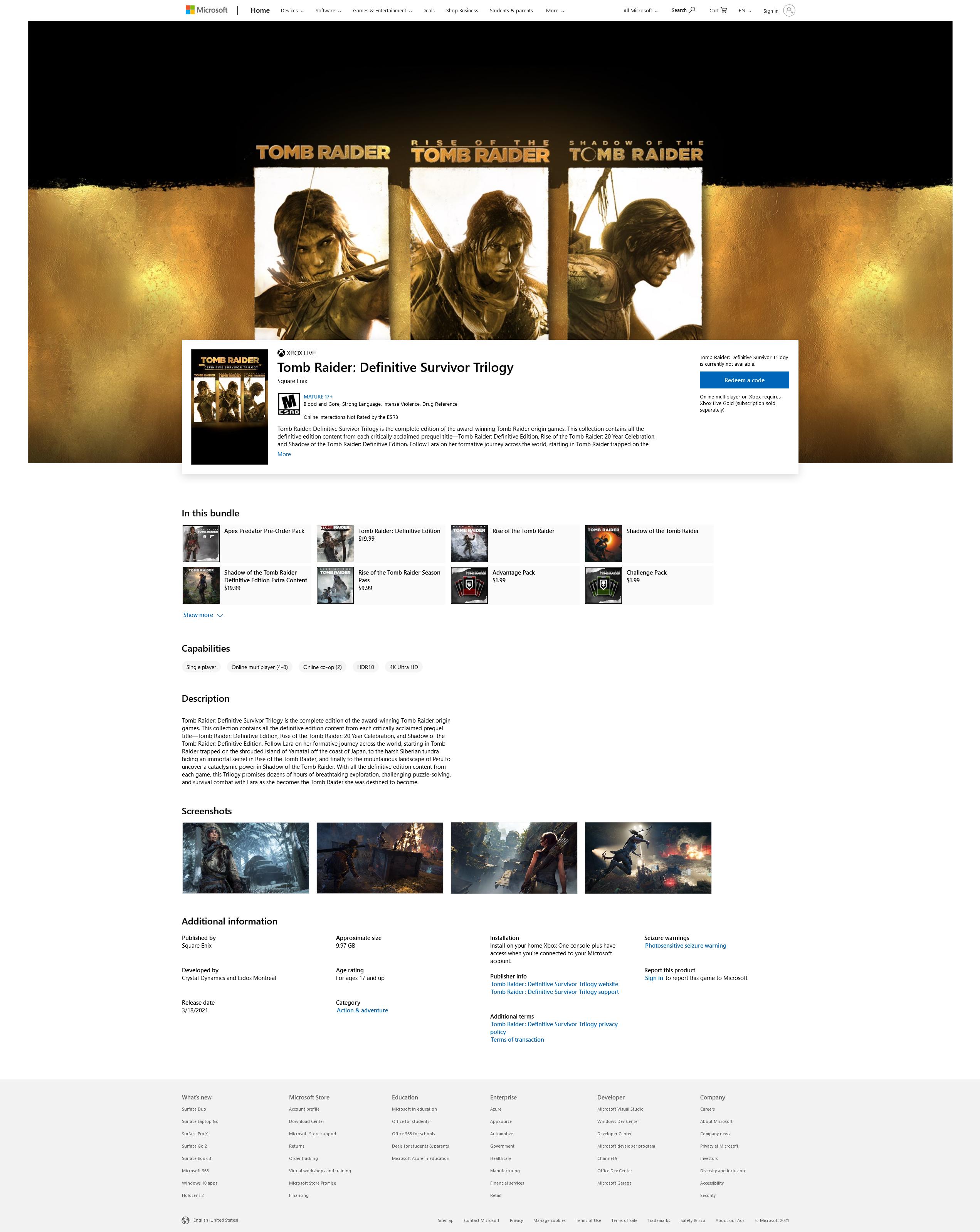 Tomb Raider: Definitive Survivor Trilogy en la Microsoft Store